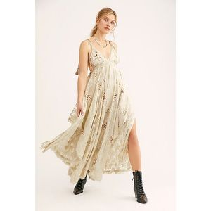 free people meredith gold foil maxi dress